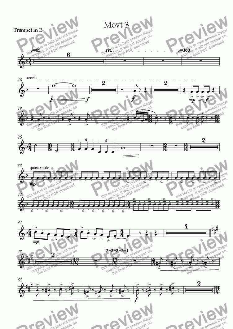 page one of the Trumpet in B^b part from Variations of A Theme