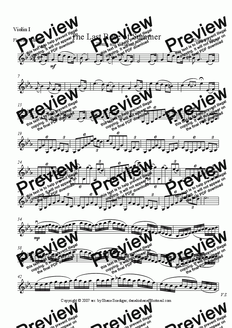 page one of the Violin I part from The Last Rose of Summer, Theme and Variations for String Quartet
