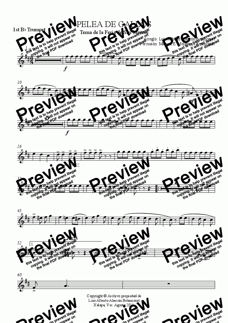 page one of the 1st B^b Trumpet part from PELEA DE GALLOS