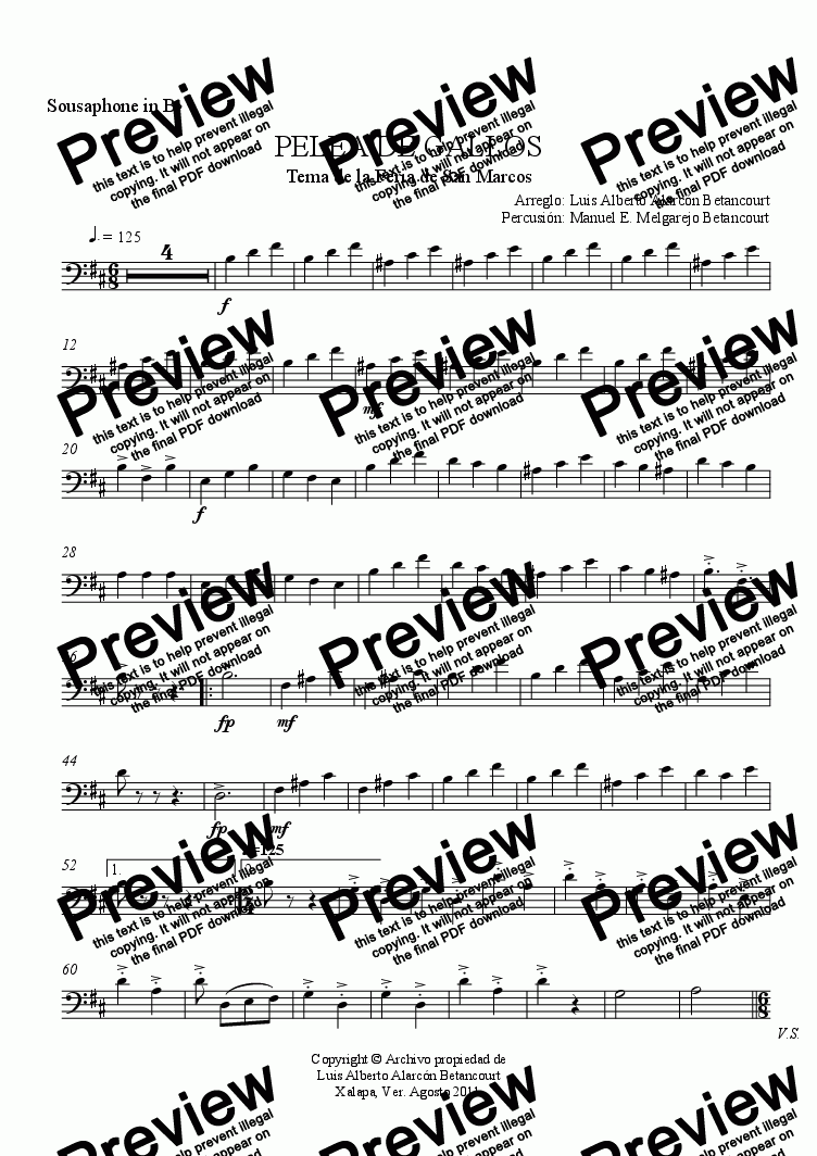 page one of the Sousaphone in B^b part from PELEA DE GALLOS