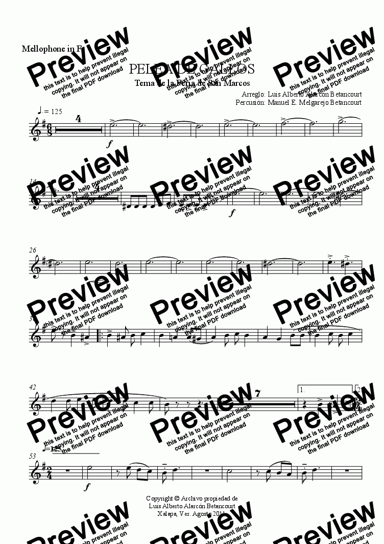 page one of the Mellophone in F part from PELEA DE GALLOS