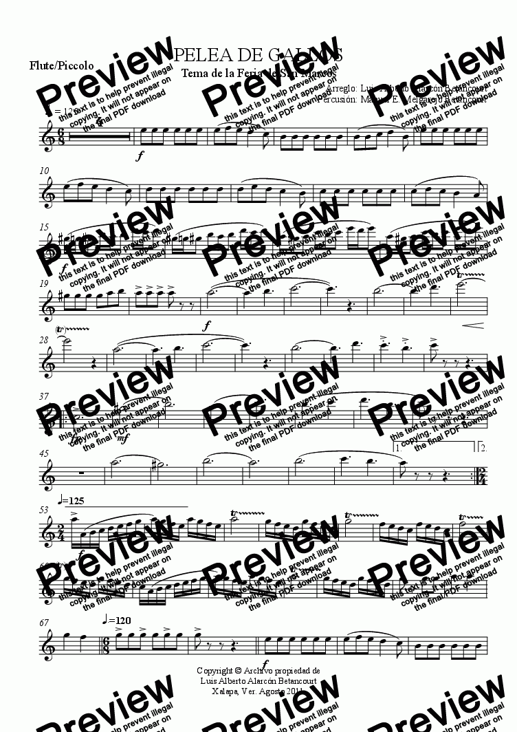 page one of the Flute/Piccolo part from PELEA DE GALLOS