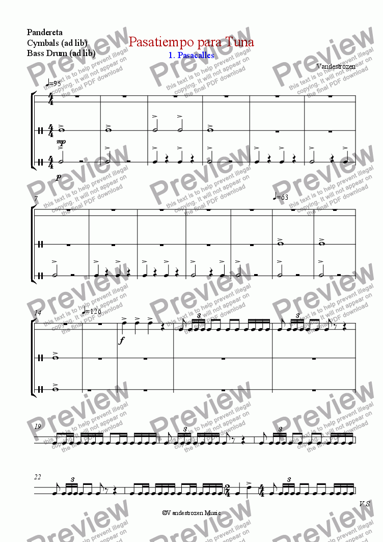 page one of the Pandereta, Cymbals (ad lib), Bass Drum (ad lib) part from Pasatiempo para Tuna