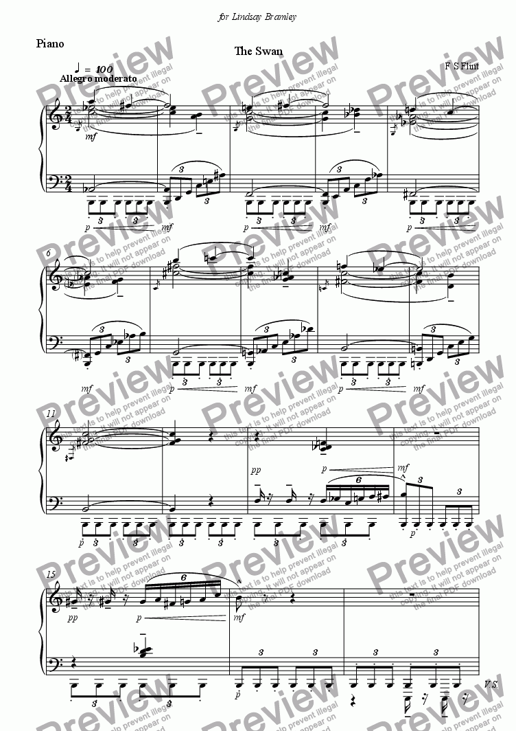 page one of the Piano part from Six songs on Imagist Poets