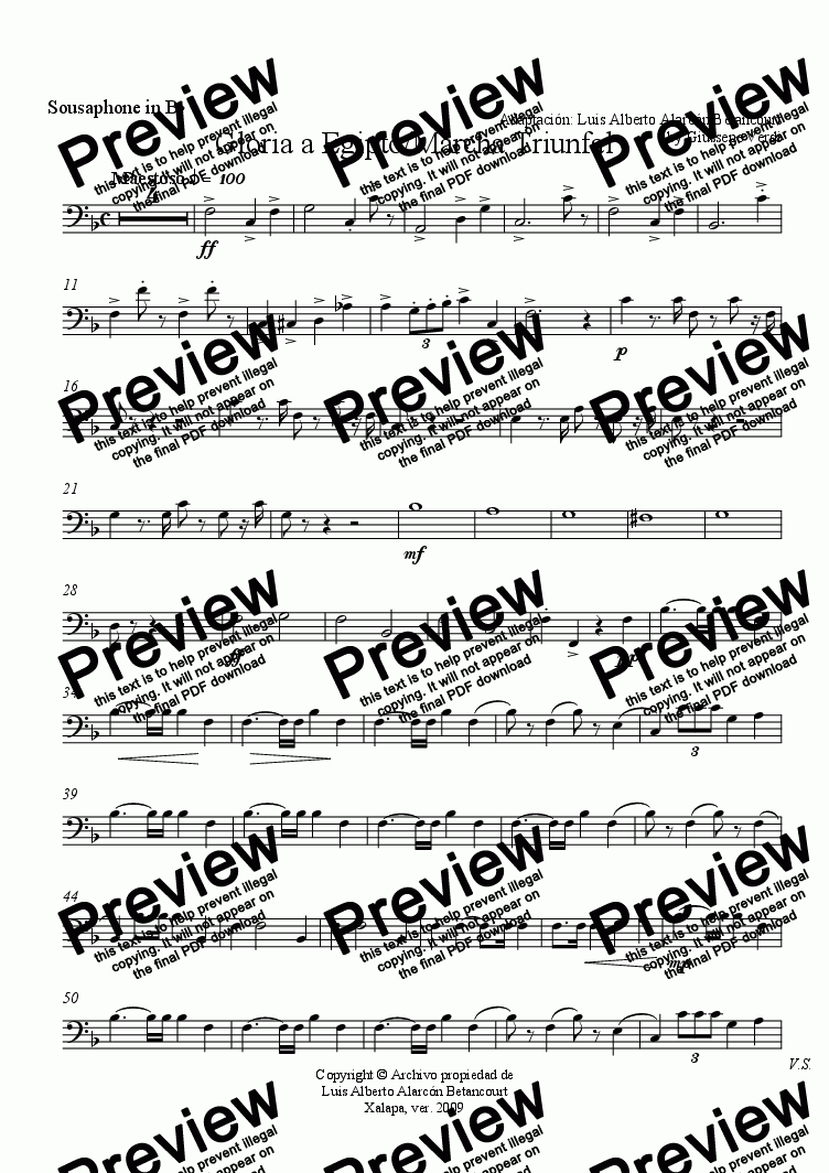 page one of the Sousaphone in B^b part from Gloria a Egipto/Marcha Triunfal