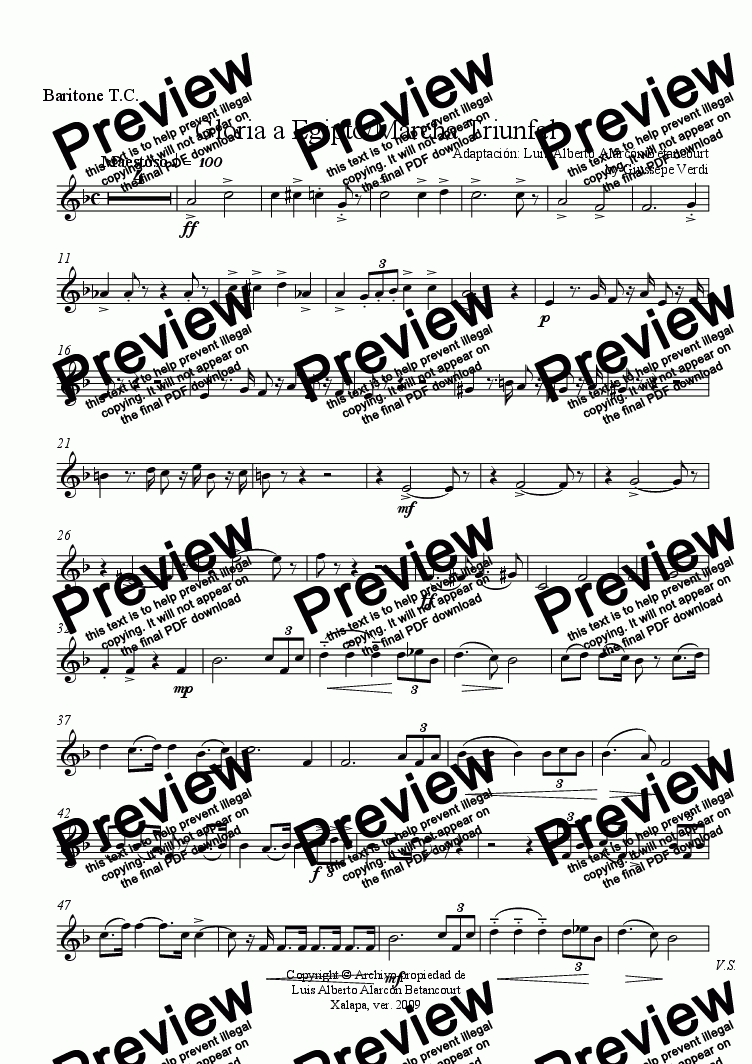 page one of the Baritone T.C. part from Gloria a Egipto/Marcha Triunfal