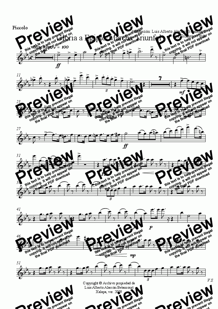 page one of the Piccolo part from Gloria a Egipto/Marcha Triunfal