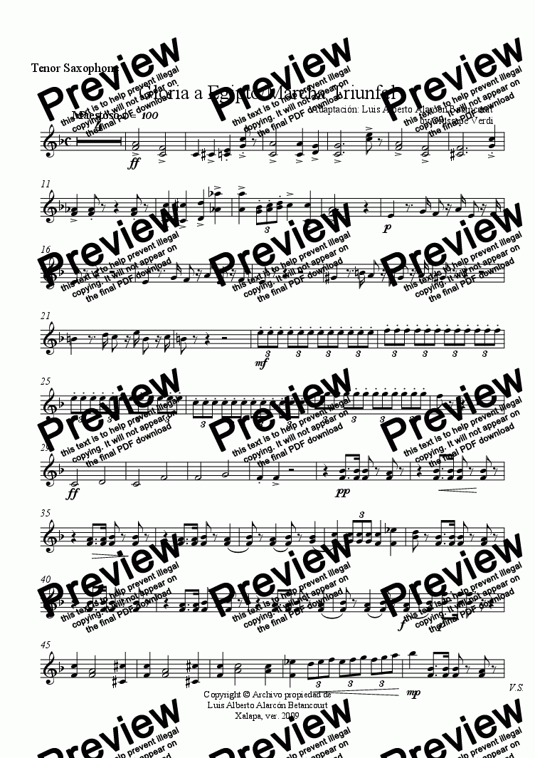page one of the Tenor Saxophone part from Gloria a Egipto/Marcha Triunfal
