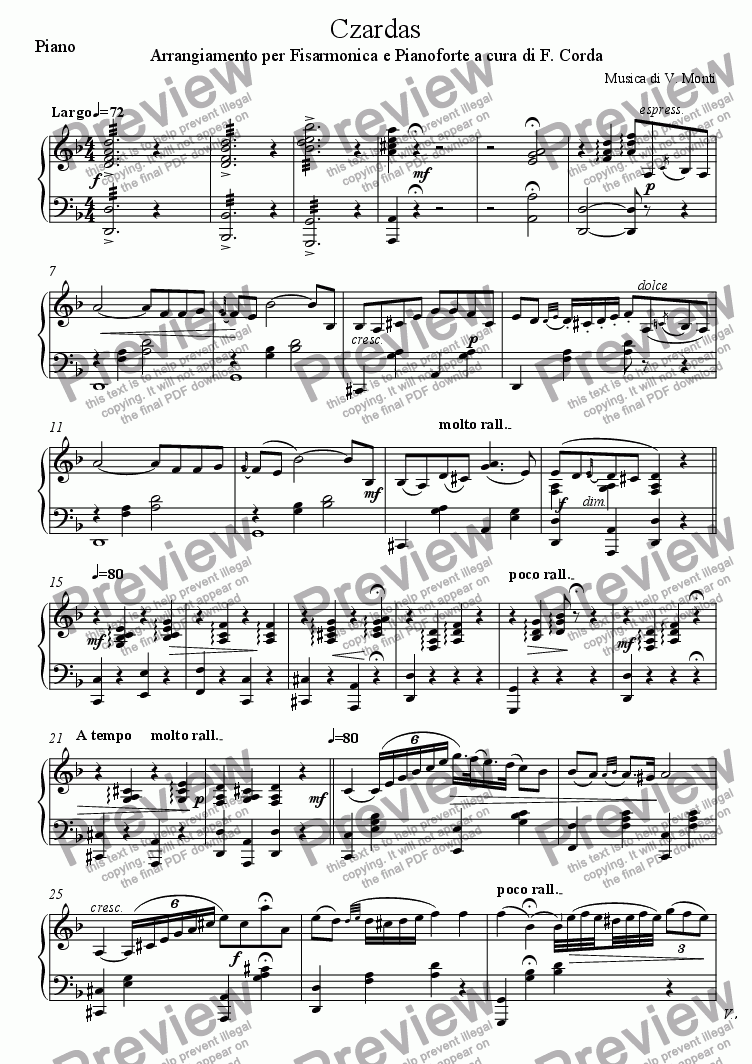 page one of the Piano part from Czardas