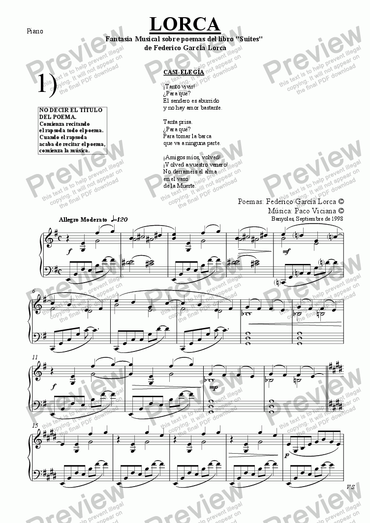 page one of the Piano part from 084-Lorca (Bariton-Violin-Piano) (spanish)