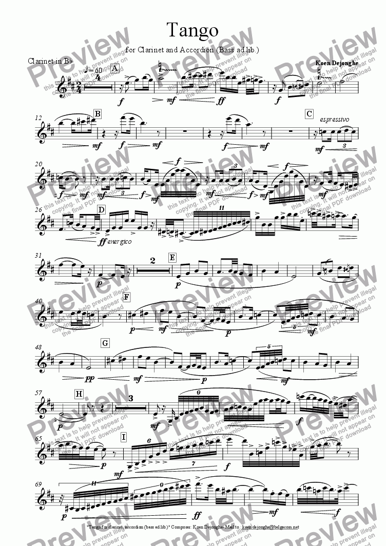 "page one of the Clarinet in Bb part from ""Tango for Clarinet and Accordion (Bass ad lib.)"""