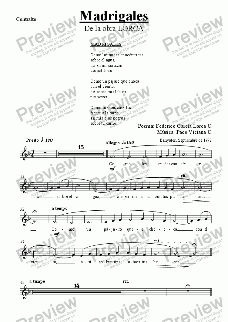 page one of the Contralto part from 084-Lorca (Madrigales) Contralto-Piano (spanish)