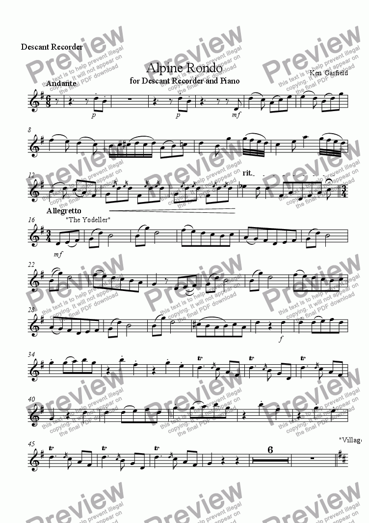 page one of the Descant Recorder part from Alpine Rondo