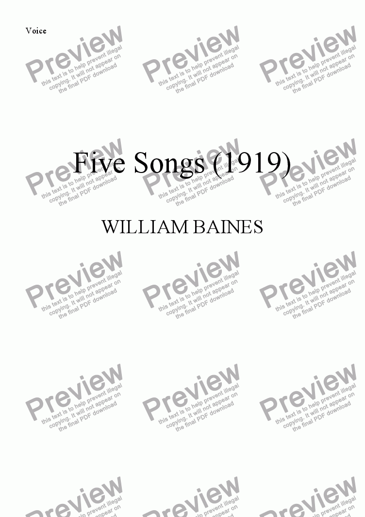 page one of the Voice part from William Baines: Five Songs