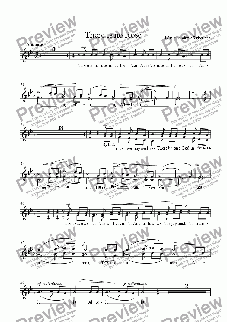 page one of the SOPRANO ALTO part from There is no Rose