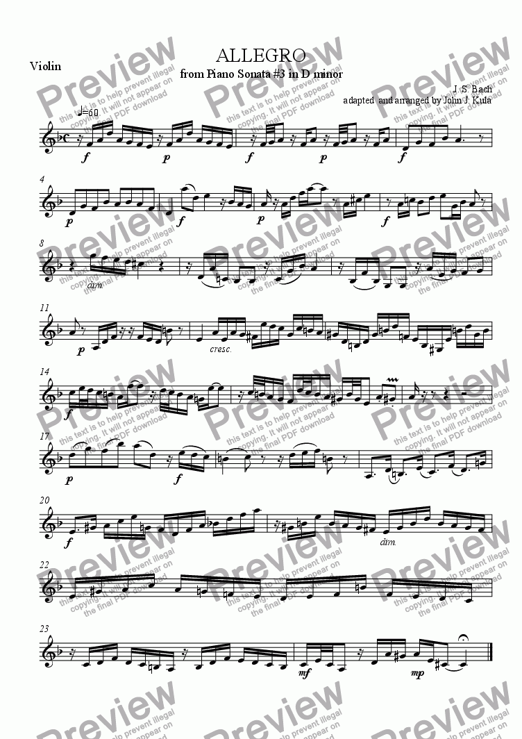page one of the Violin part from Allegro - J.S. Bach