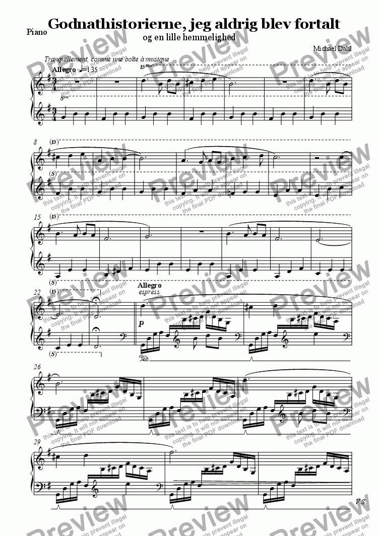 page one of the Piano part from Godnathistorierne, jeg aldrig blev fortalt (The Bedtime Stories I was never Told)