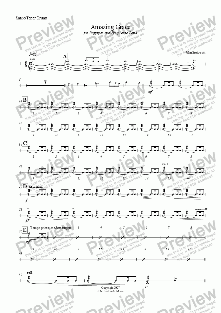 page one of the Snare/Tenor Drums part from Amazing Grace for Bagpipes and Symphonic Band