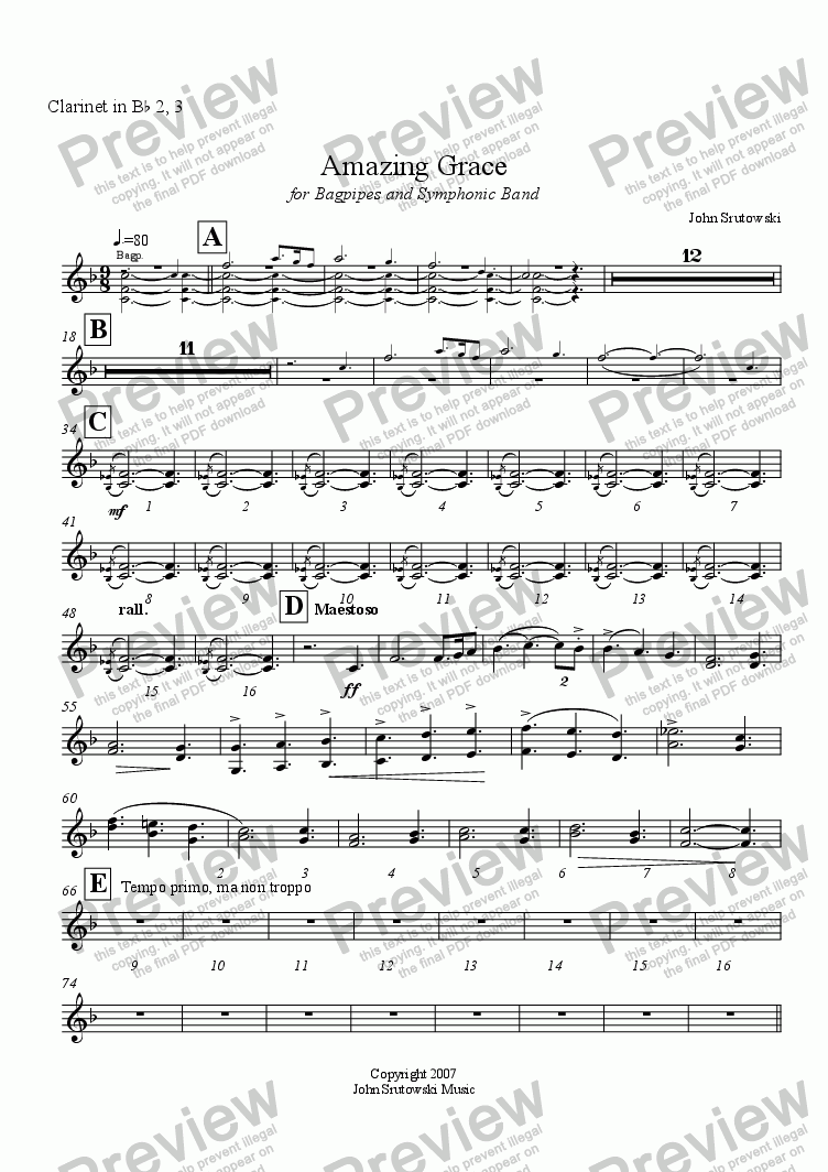 page one of the Clarinet in B^b 2, 3 part from Amazing Grace for Bagpipes and Symphonic Band
