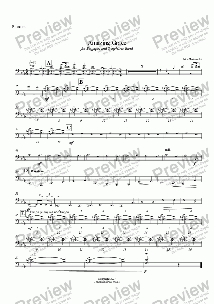 page one of the Bassoon part from Amazing Grace for Bagpipes and Symphonic Band