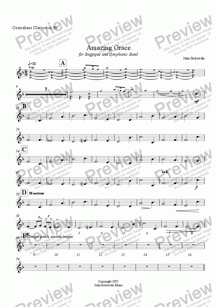 page one of the Contrabass Clarinet in B^b part from Amazing Grace for Bagpipes and Symphonic Band