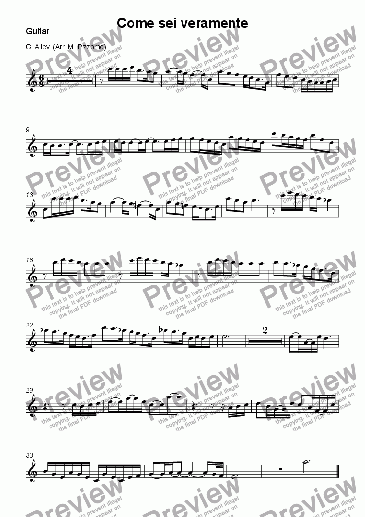page one of the Guitar part from Come sei veramente