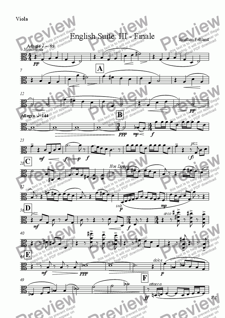 page one of the Viola part from English Suite: III - Finale