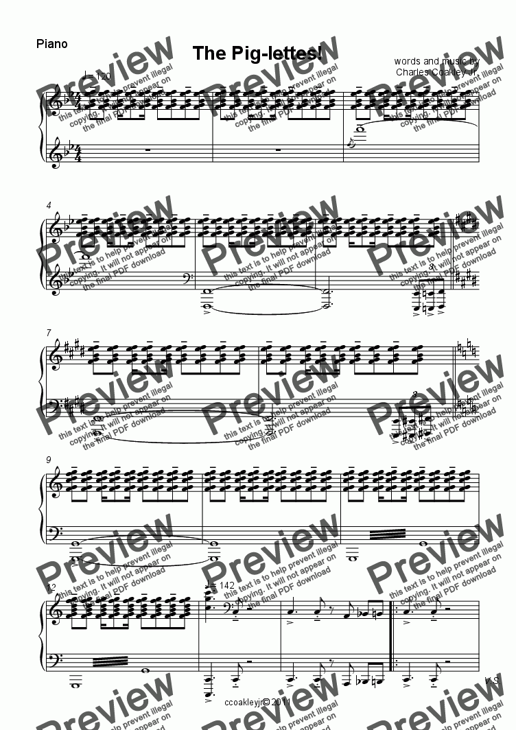 page one of the Piano part from The Pig-lettes!