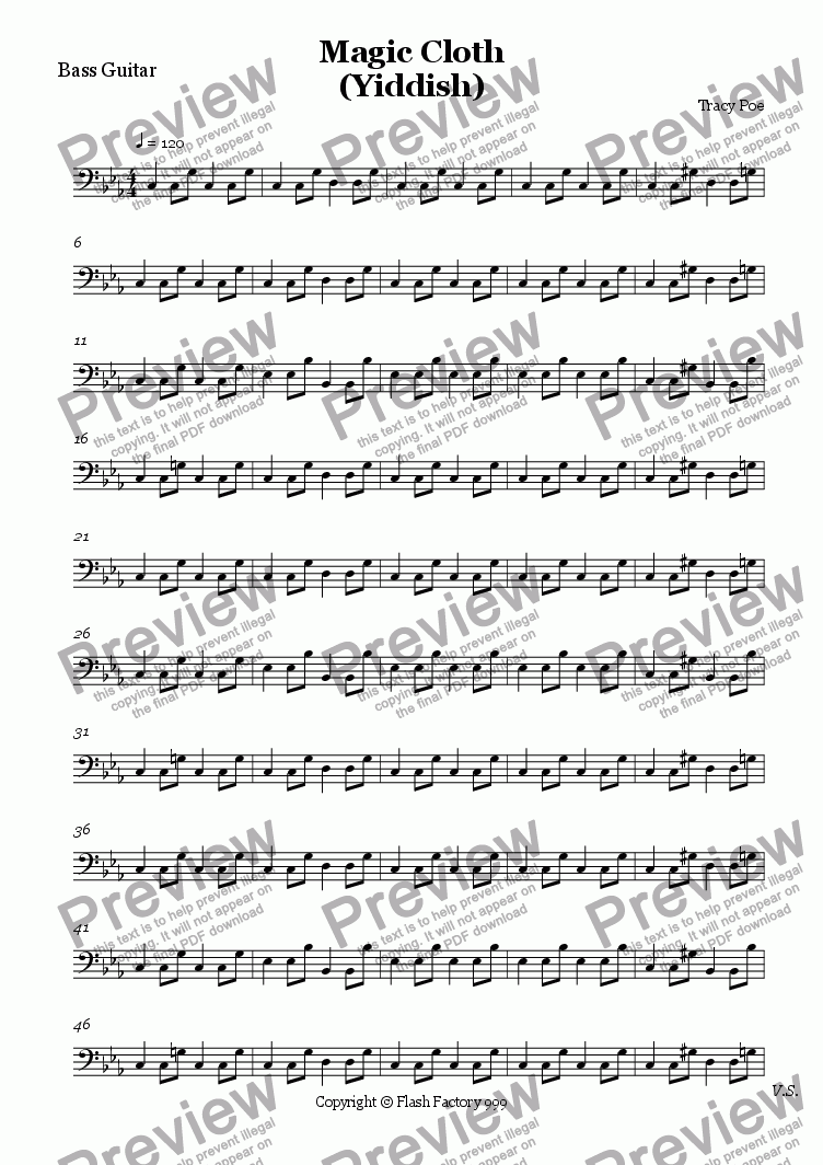 page one of the Bass Guitar part from Song 264 Magic Cloth (Yiddish)