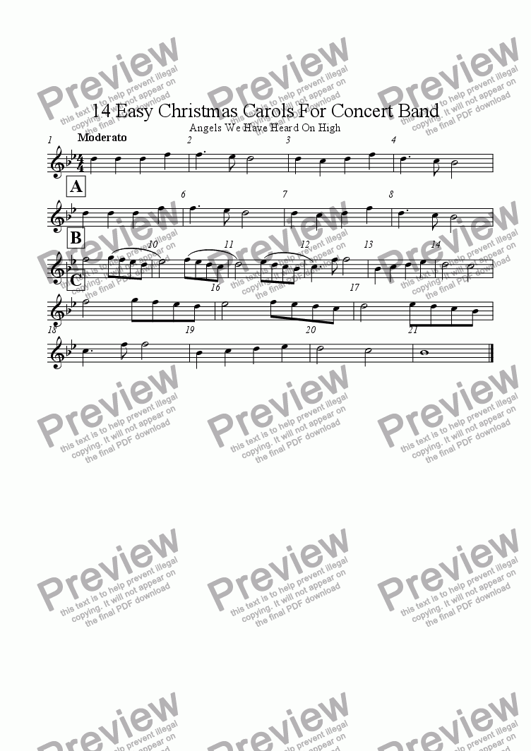 page one of the Flute part from 14 Easy Christmas Carols For Concert Band