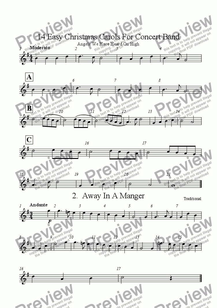 page one of the Alto Saxophone part from 14 Easy Christmas Carols For Concert Band