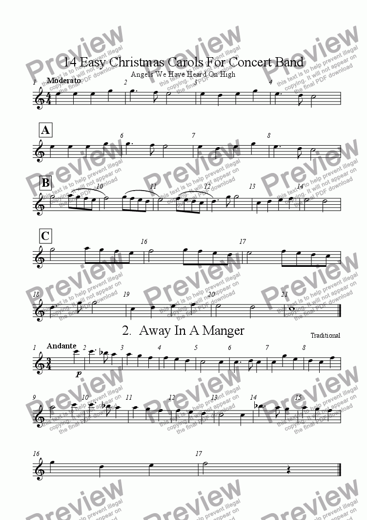 page one of the Tenor Saxophone part from 14 Easy Christmas Carols For Concert Band