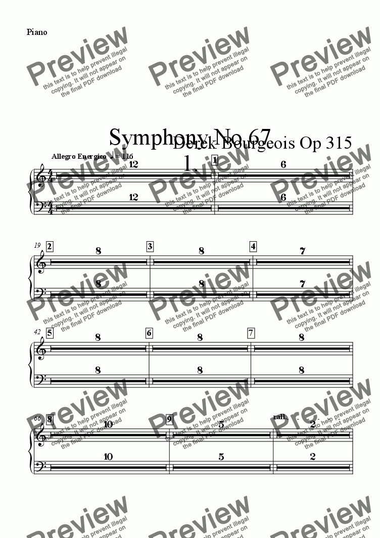 page one of the Piano part from Symphony No 67 1st movt