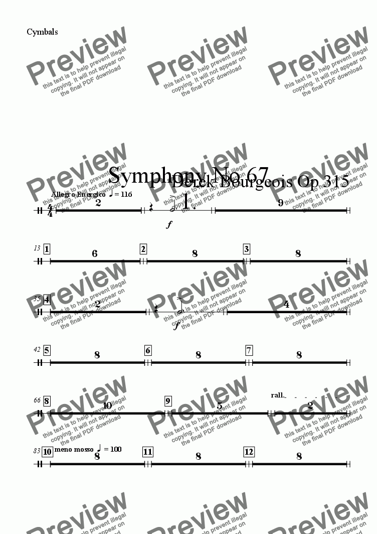 page one of the Cymbals part from Symphony No 67 1st movt