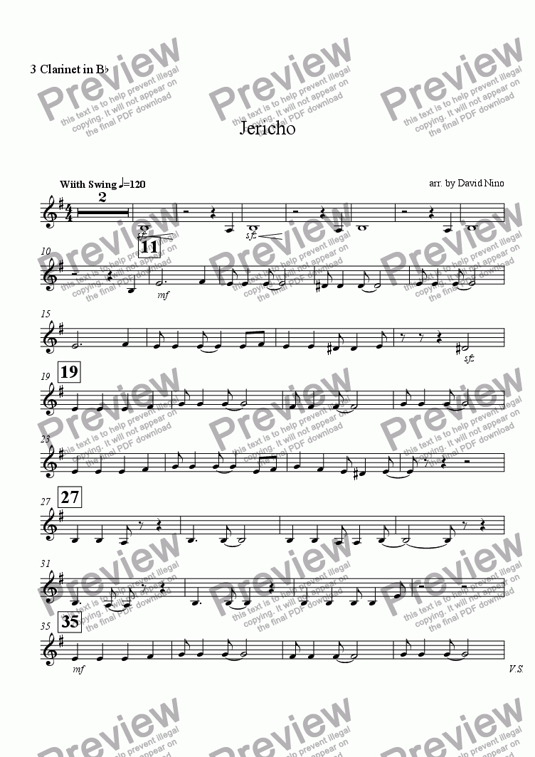 page one of the 3 Clarinet in B^b part from Jericho