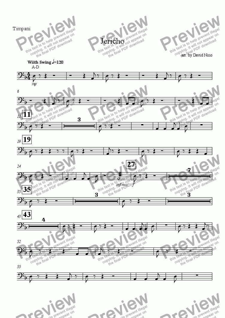 page one of the Timpani part from Jericho