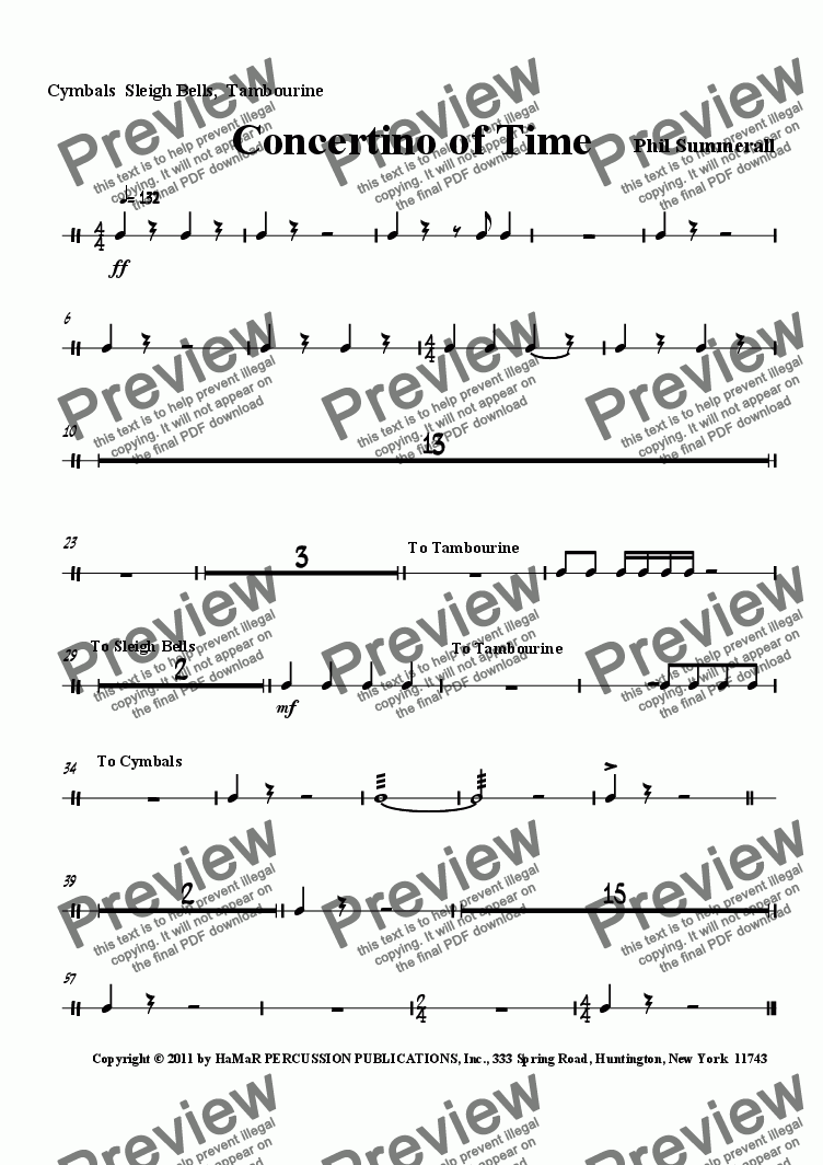 page one of the Cymbals  Sleigh Bells,  Tambourine part from Concertino of Time