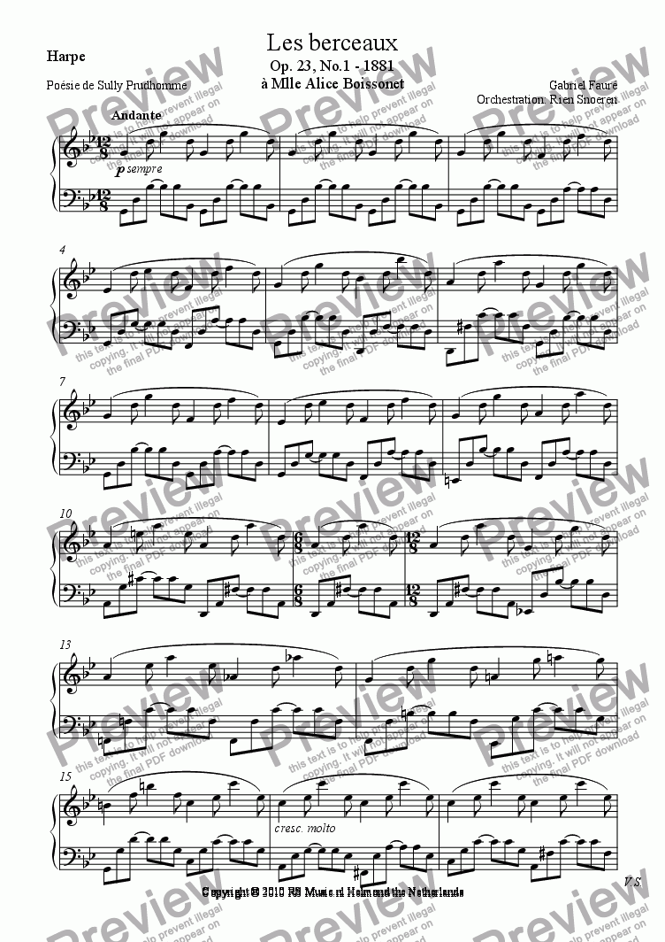 page one of the Harpe part from Les Berceaux