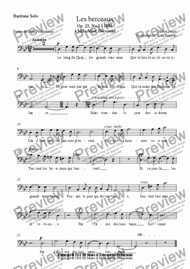 page one of the Baritone Solo part from Les Berceaux