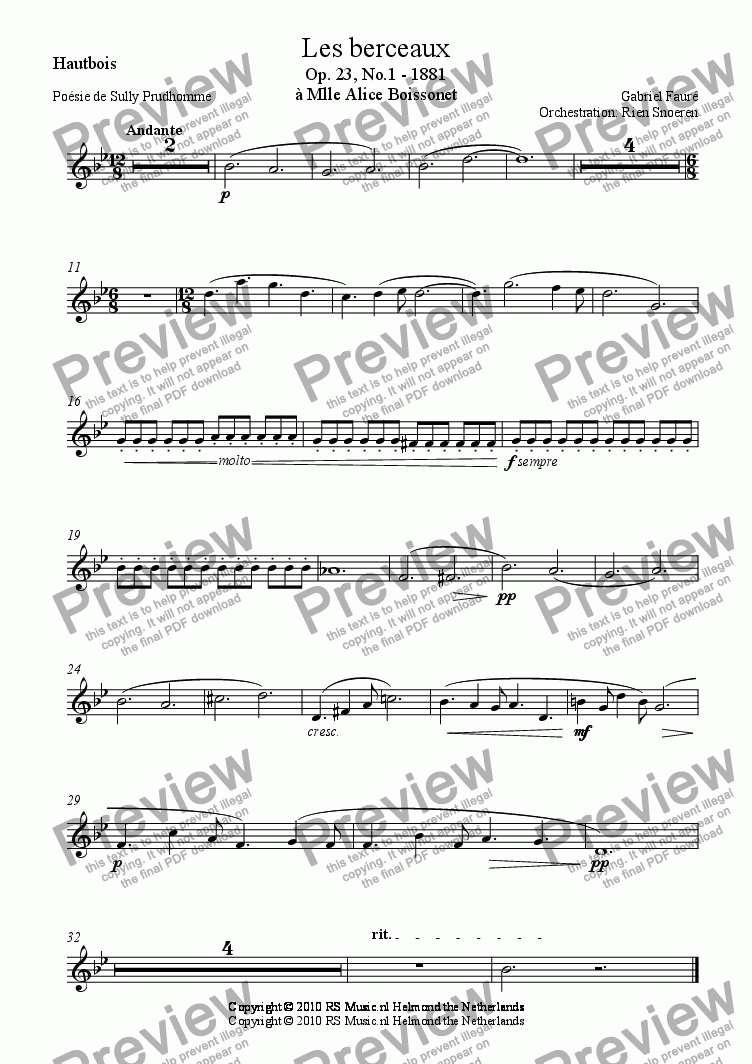 page one of the Hautbois part from Les Berceaux