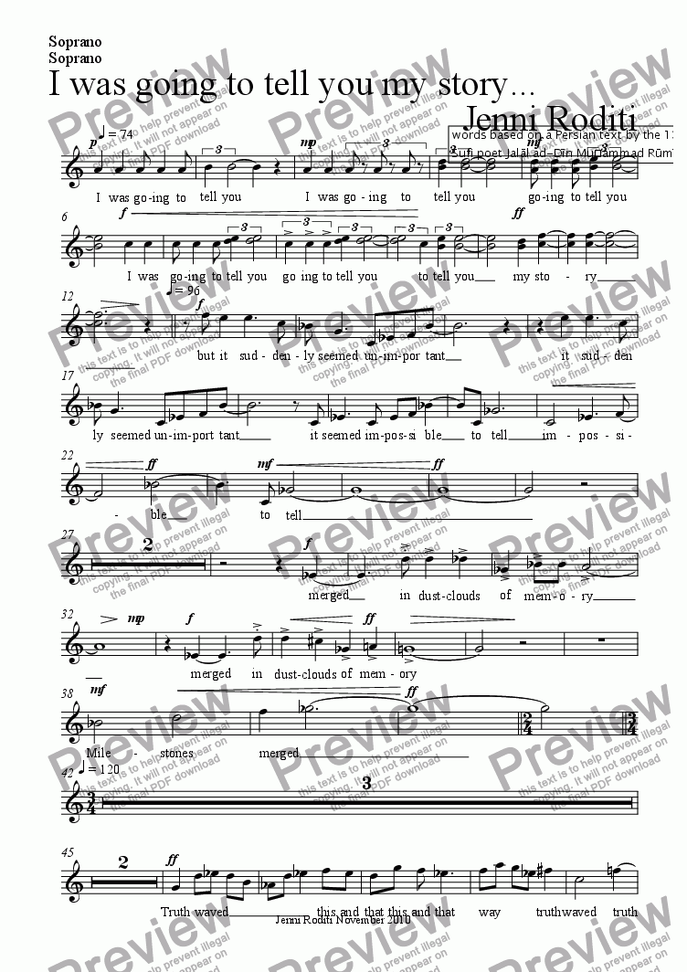 page one of the Soprano part from I was going to tell you my story...