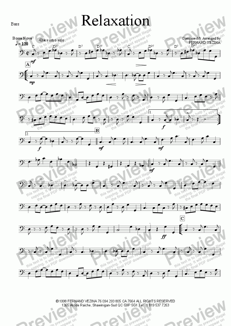 page one of the Bass part from Relaxation