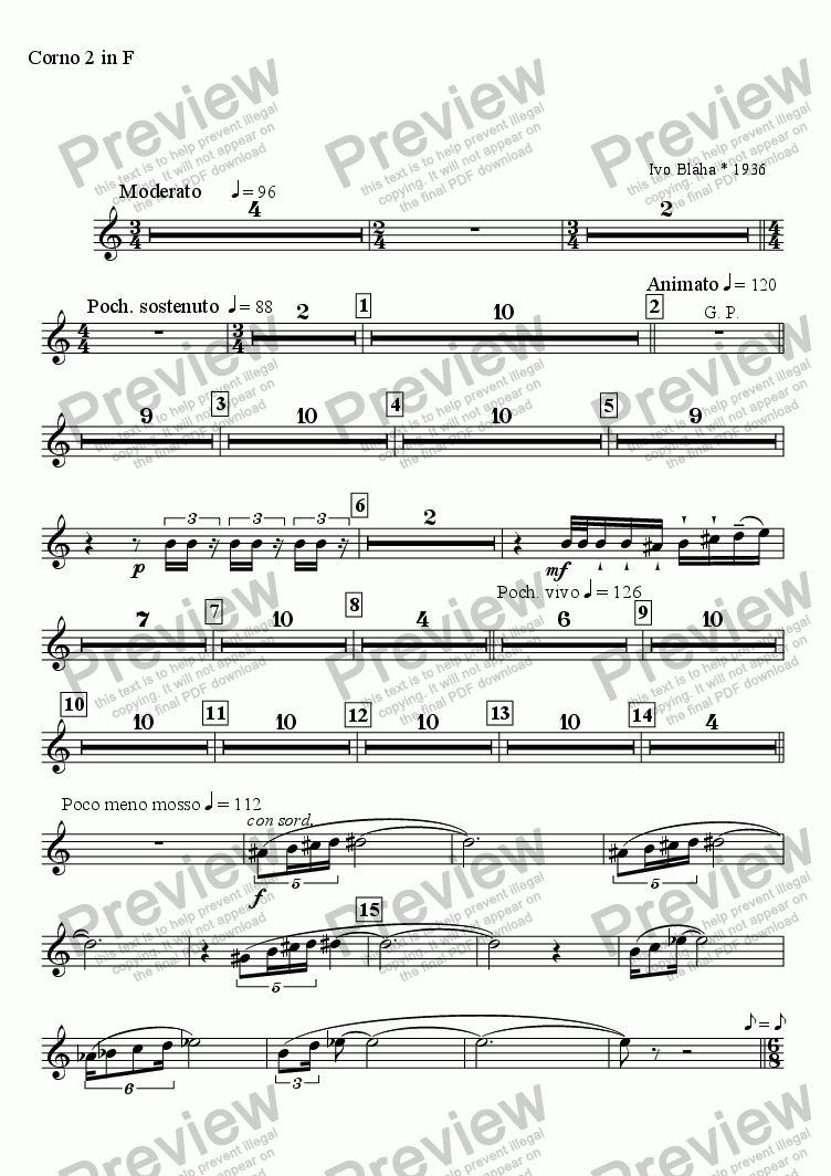 page one of the Corno 2 in F part from BERGAMASCA - symphonic scherzo