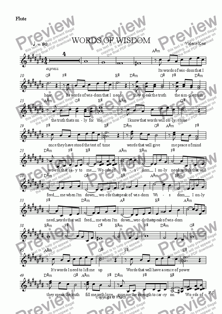 page one of the Flute part from WORDS OF WISDOM