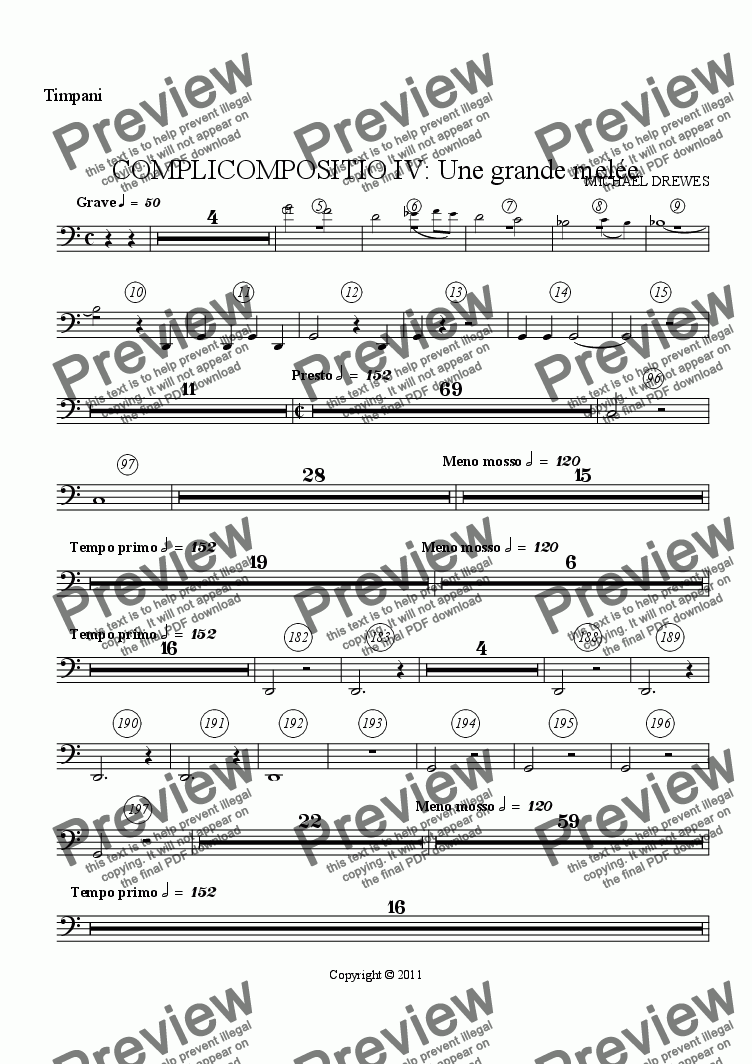 page one of the Timpani part from COMPLICOMPOSITIO IV: Une grande melée