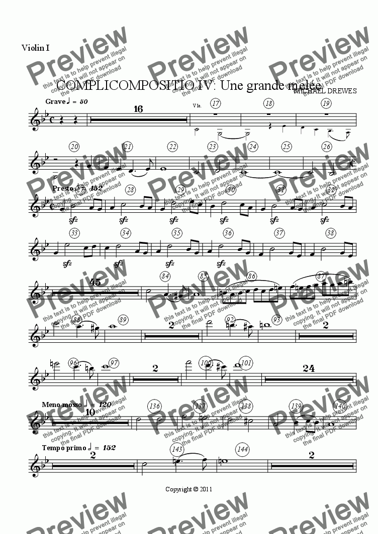 page one of the Violin I part from COMPLICOMPOSITIO IV: Une grande melée