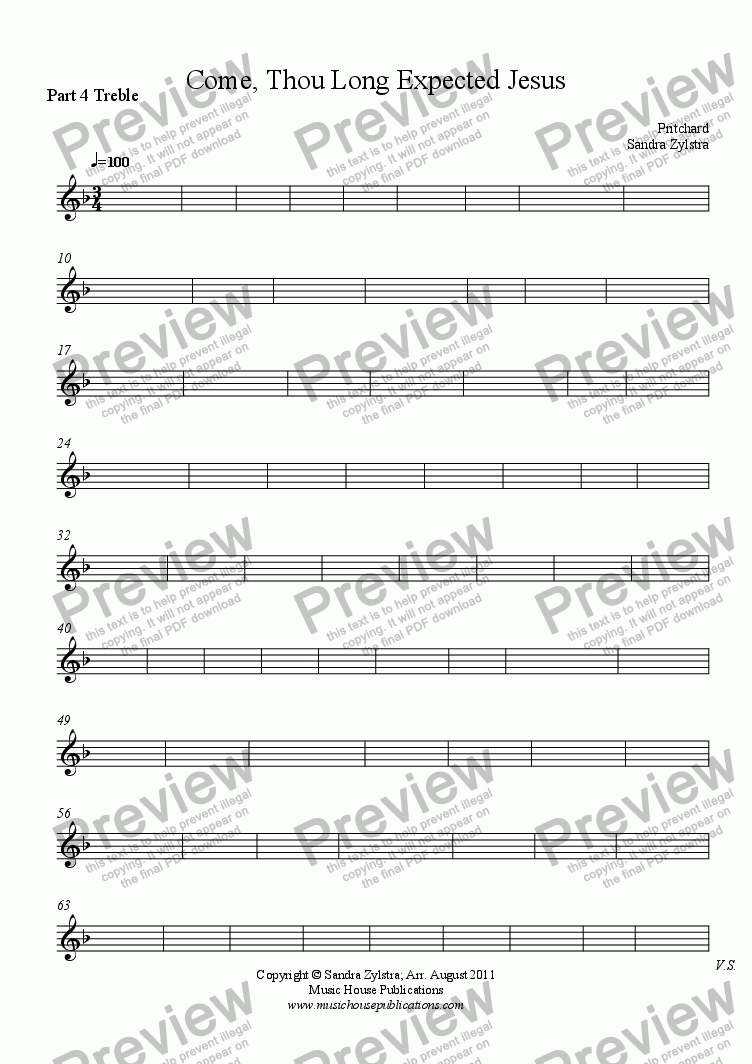 page one of the Part 4 Treble part from Instant Ensemble: Come, Thou Long Expected Jesus