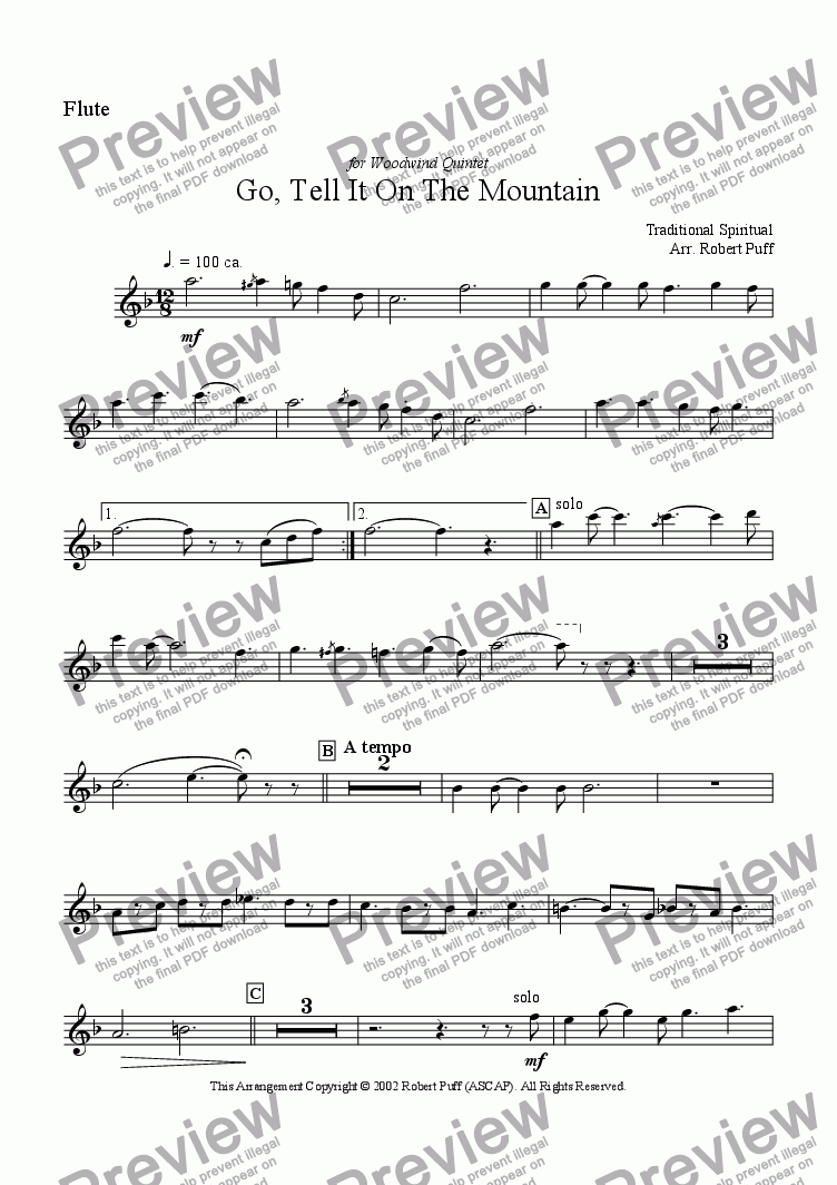 page one of the flute part from Go Tell It On The Mountain (woodwind quintet)