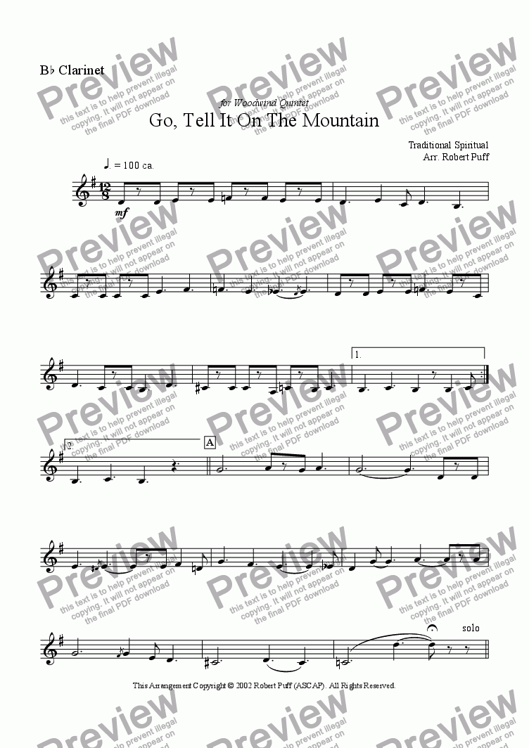 page one of the clarinet (Bb) part from Go Tell It On The Mountain (woodwind quintet)