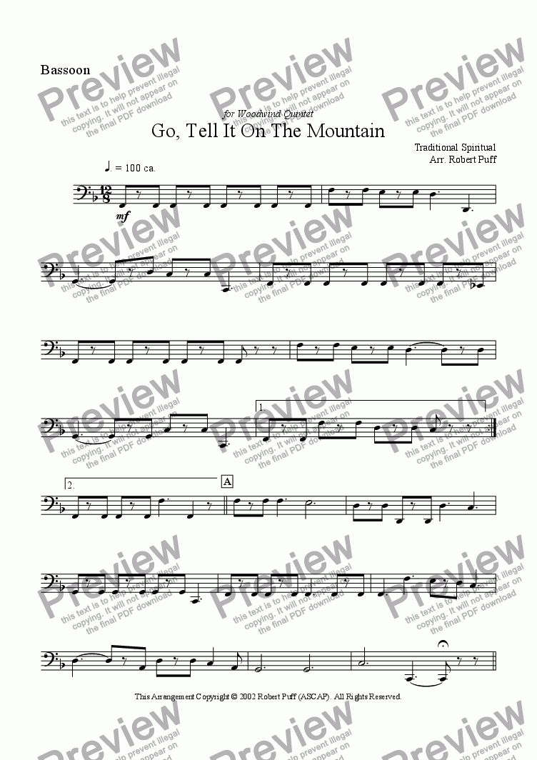 page one of the bassoon part from Go Tell It On The Mountain (woodwind quintet)
